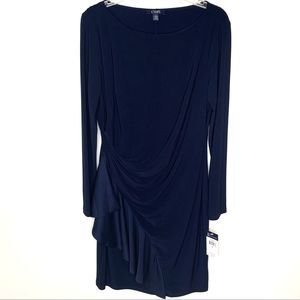 Chaps Size L Navy Long Sleeve Dress with Ruffle